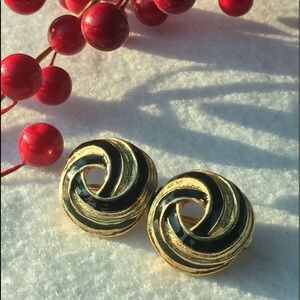 Avon gold/black clip earrings